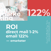 ROI of email marketing is 122% per emarketer - essential marketing tools