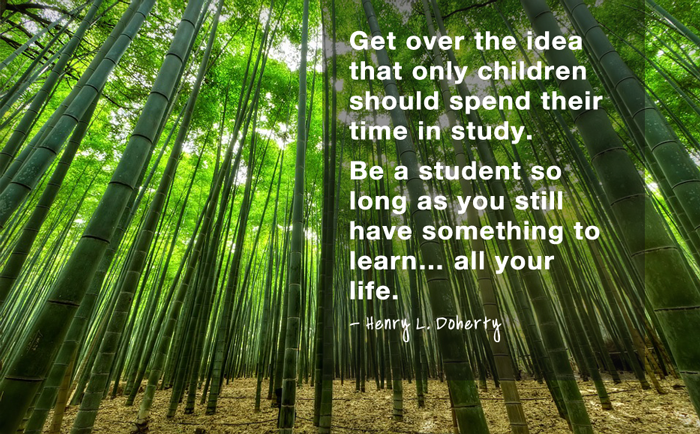 """Get over the idea that only children should spend their time in study. Be a student so long as you still have something to learn… all your life.""  - Henry L. Doherty"