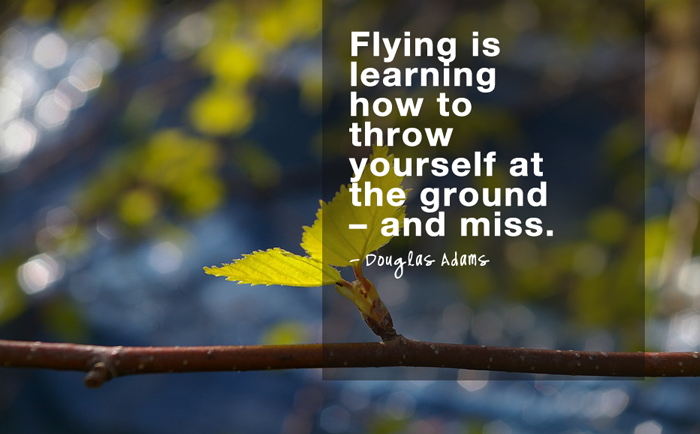"""Flying is learning how to throw yourself at the ground – and miss.""  - Douglas Adams"