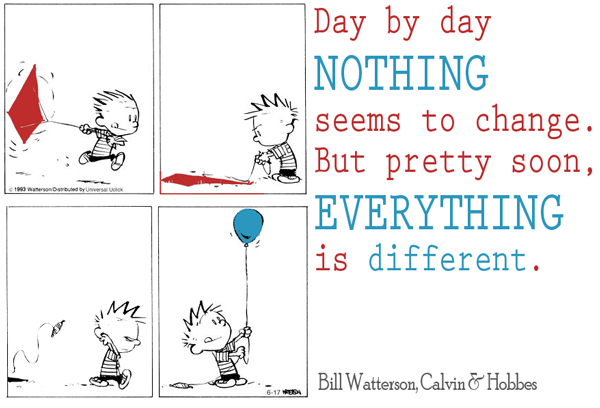 """Day by day, nothing seems to change. But pretty soon, everything's different."" Bill Watterson"