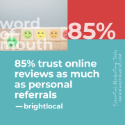 85 percent of consumers say they trust online reviews just as much as they do personal recommendations - essential marketing tools